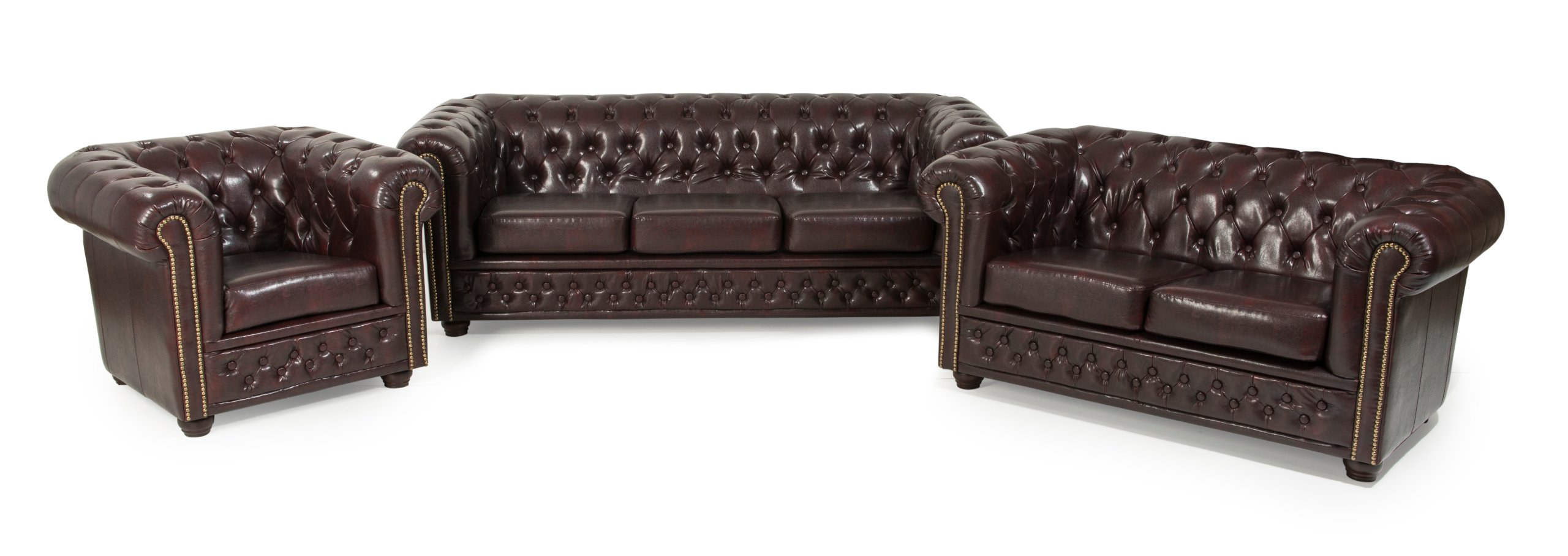 chesterfield sofa 3 2er sitzer sessel hocker bettsofa dunkelbraun kunstleder ebay. Black Bedroom Furniture Sets. Home Design Ideas