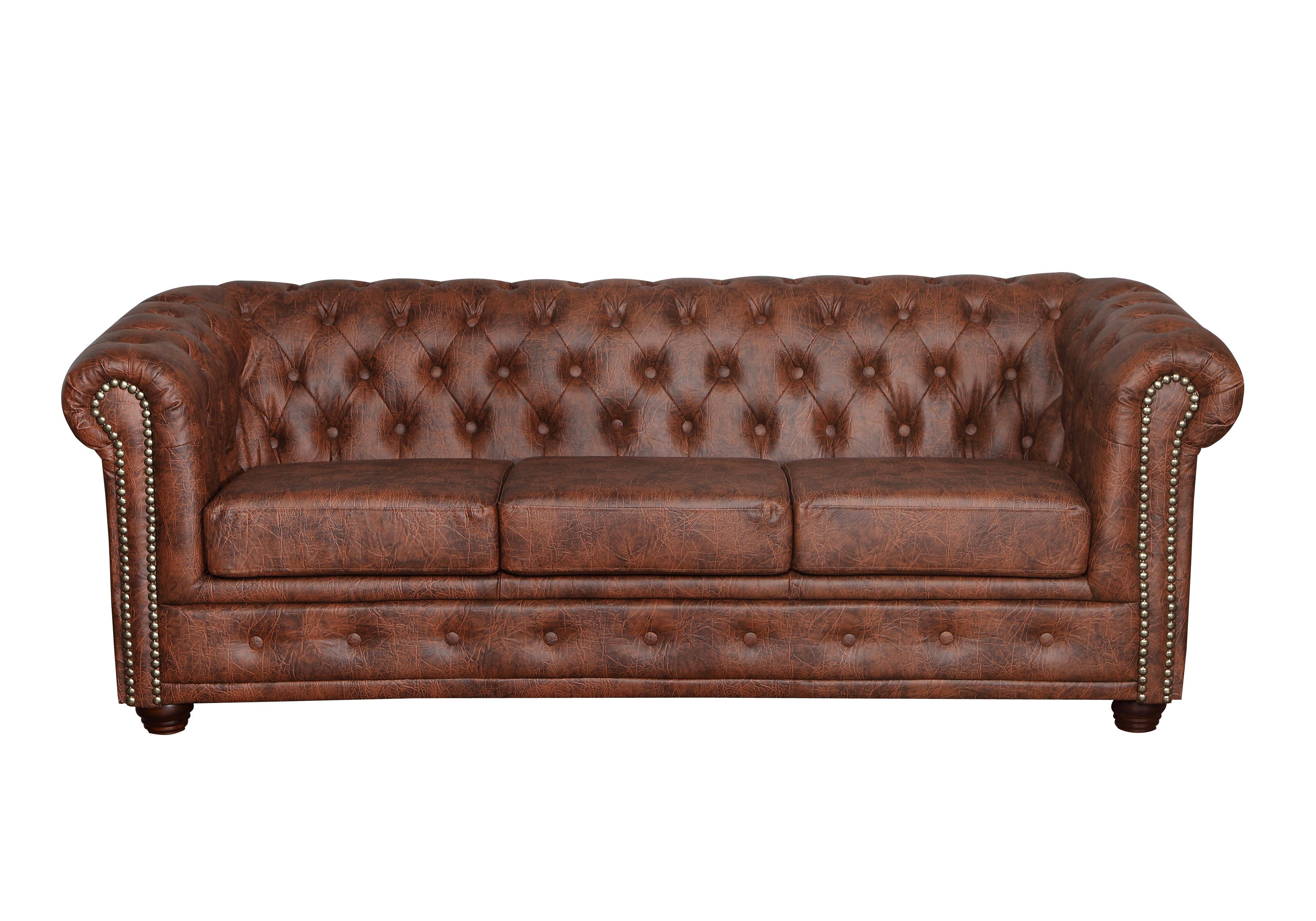 Chesterfield 3 2er Sitzer Sessel Hocker Bett Industrie Braun